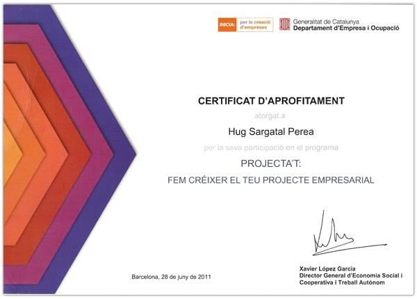 imagen del certificado projecta't