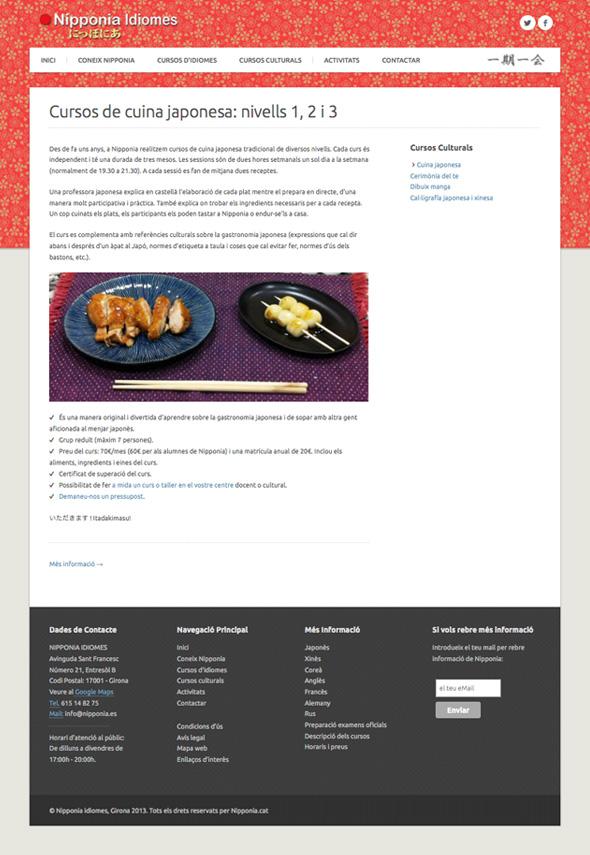 Muestra de la pantalla de la web de Nippona de cocina japonesa
