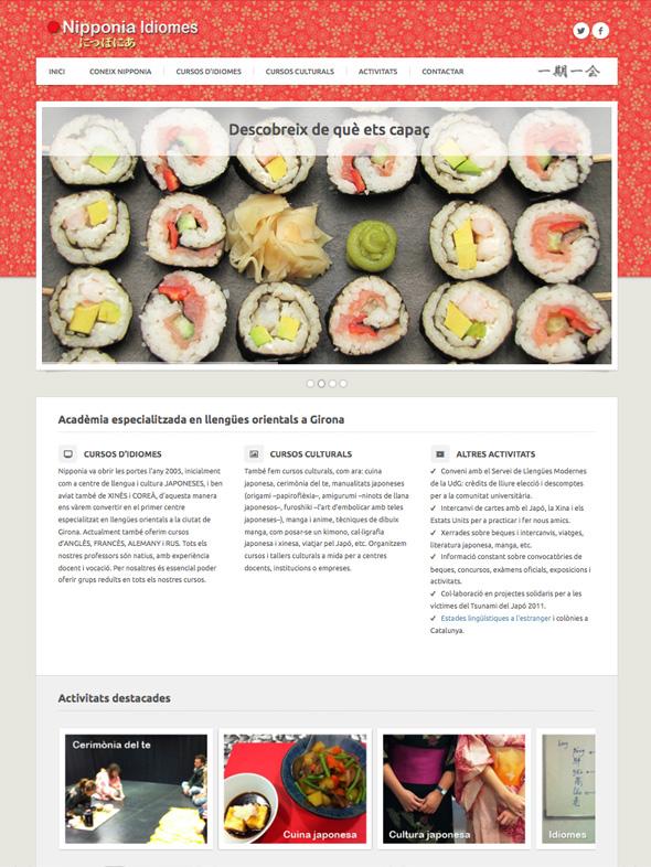 Muestra de la página principal de Nipponia